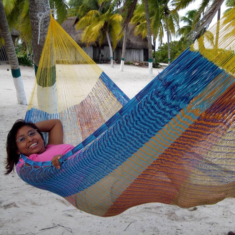 Hammock is handmade Net from first to last. The net is elastic and flexible.