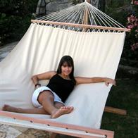 Exclusive beige hammock in PRO outdoor material with 160 cm wide wooden bars