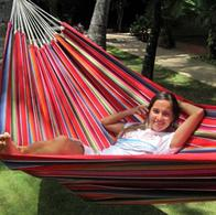 Hammock of durable fabric, striped red Mexico design. No. FG487