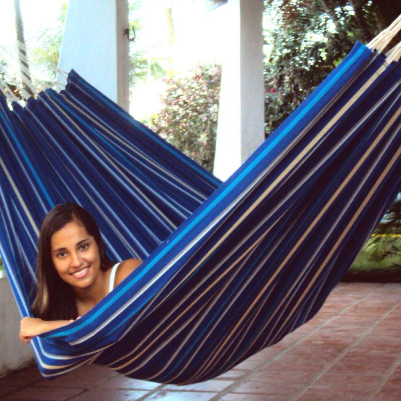 Bluish hammock in strong durable fabric