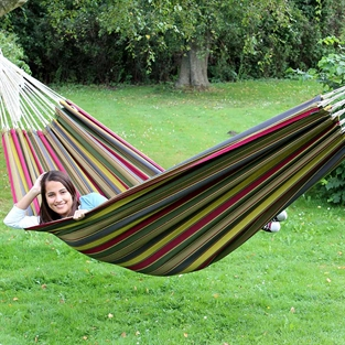 Forest Hammock. Hammocks in green striped strong fabric