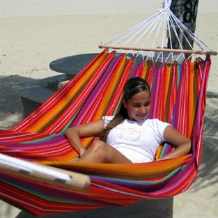 Fabric hammock Guatemalamix with spreader bars in fashion stripes. No. T542