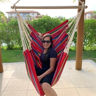 Fabric Hammock Chair with Mexico Red Design. No. Dv487.