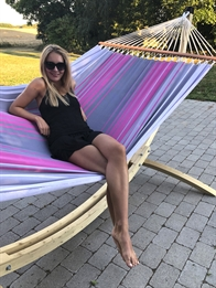 Outdoor fabric hammock in beige, green and turquoise with 120 cm wooden spreader bars PRO. No. Tt604.4p-118