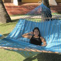 Exclusive turquoise and dusty green outdoor fabric hammock with 160 cm wide wooden spreader bars. No. VTQ603-PRO