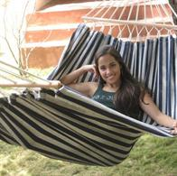 Hammock with cross sticks in blue-white striped fabric. No. T203r