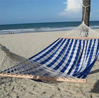 Trendy squared hammock in blue and off white with wooden spreader bars. No. TQ643