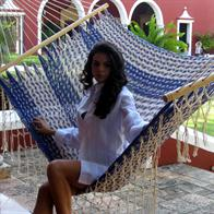 Mexican Hammock with spreader bars in natural white and blue cotton net with details and handwork